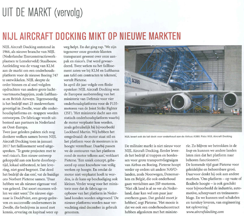 Artikel NIJL Aircraft Docking in LINK magazine december 2019